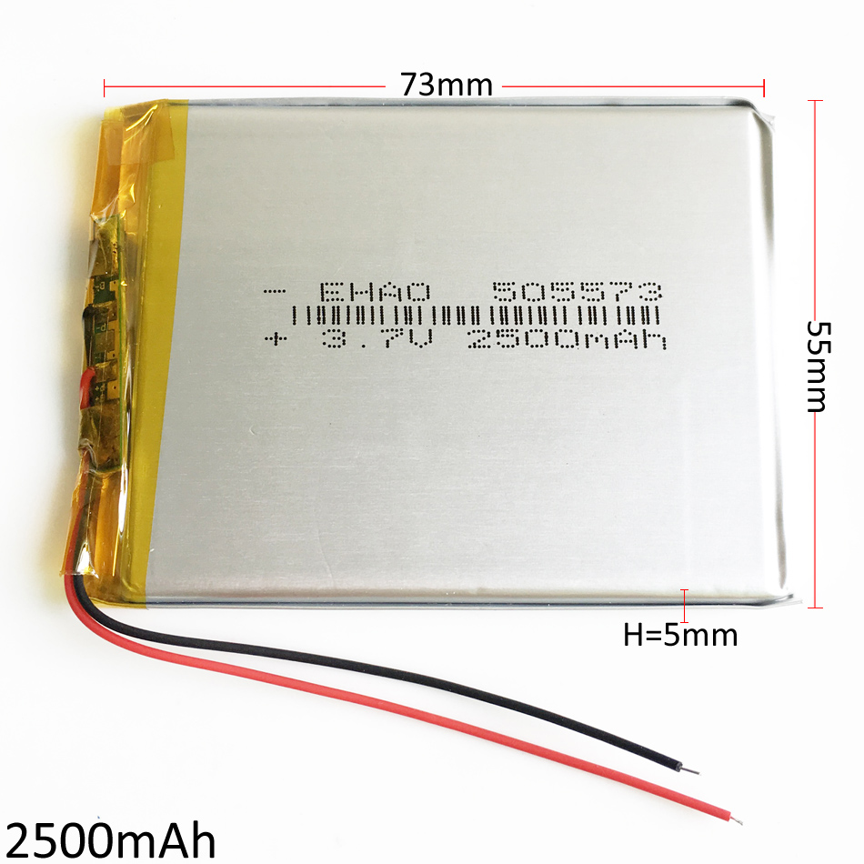 3.7V 2500mAh 505573 Lithium Polymer Battery Li ion Lipo Rechargeable battery Accumulator For Mobile phone Power Bank E-book