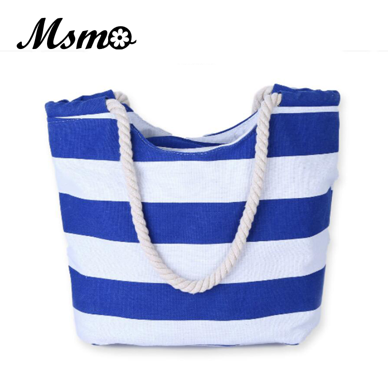 2018 Beach Bag Casual Women Stripe Large Capacity Tote Canvas Shoulder Bag Shopping Bag Beach Bags Casual Tote Feminina ocardian canvas shopper shoulder bag striped beach bag large capacity tote women ladies casual shopping handbags bolsa 23 2017