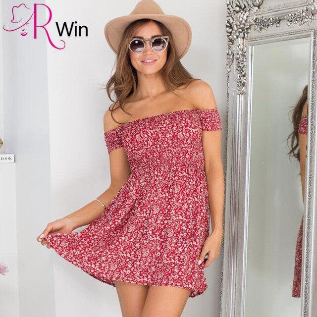 Mrs Win Beach Dress Off Shoulder Floral Summer Vintage High Waist Women Dress Y Short