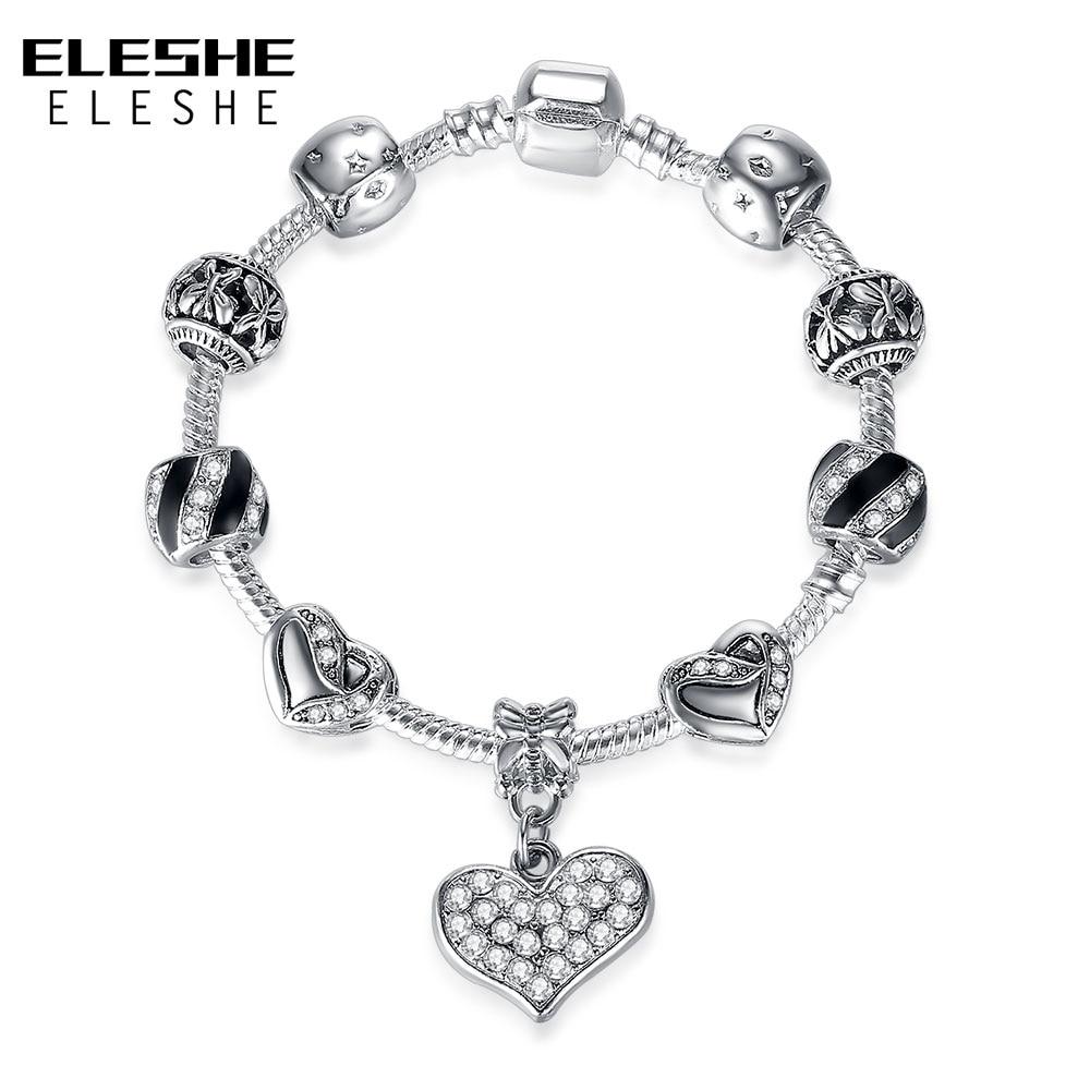 ELESHE European Silver Crystal Beads Bracelet for Women Vintage Heart Charm Bracelets Snake Chain Jewelry Gift