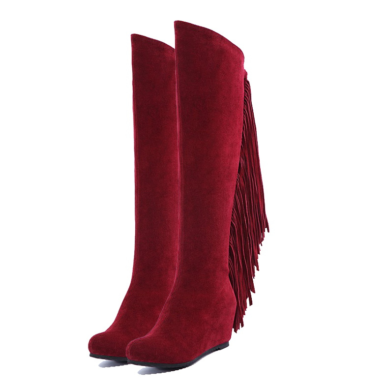 ФОТО Black / Red Women Boots 2017 Genuine Leather Winter Over The Knee High Long Boots Wedges Tassel boots Motorcycle Boots