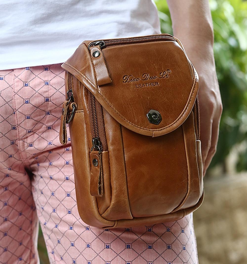Γνήσια δερμάτινα αγγελιαφόροι άνδρες ώμου Μικρή τσάντα αγκίστρια κυττάρων κινητών τηλεφώνων Θήκη πορτοφολιών ζώνη Fanny πακέτο μέσης διασταυρούμενη σακούλες