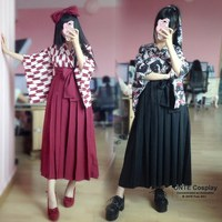 Fashion Japan Matsuri Women Half Sleeve Carp Haori Kimono Yukata Coat Tops Pleated Skirts