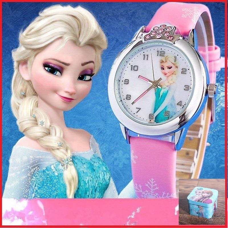 DISNEY Relogio Feminino New Relojes Cartoon Children Watch Princess Watches Fashion Kids Cute Rubber Leather Quartz Watch Girl