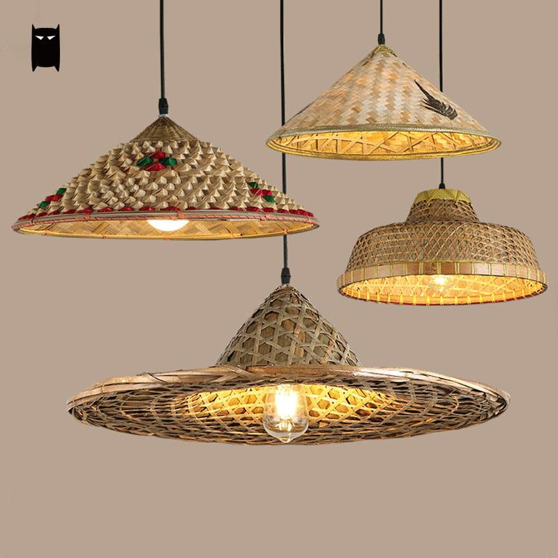 Bamboo Wicker Rattan Hat Pendant Light Fixture Rustic Asian Japanese Hanging Lamp Avize Luminaria Dining Table Room Restaurant natural black bamboo wicker lampshade hat large pendant light antique chinese asian rattan hanging ceiling lamps foyer lighting