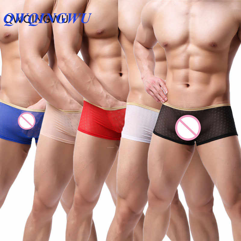 5PCS See Through Men Boxers Transparent Underwear Sexy Slip Man Boxer Shorts Breathable Hole Low Waist Male Shorts Panties Boxer