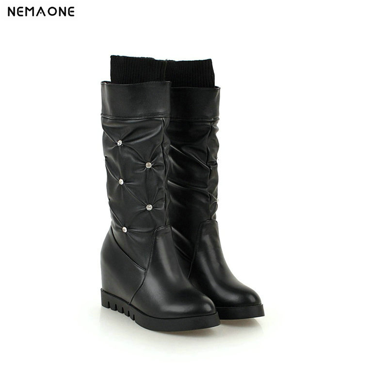 NEMAONE 2018 New mid-calf women boots black white boots woman height increasing autumn winter girl's shoes large size 42 43 цена