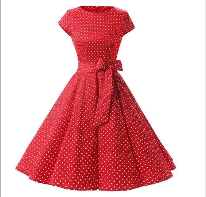 La MaxZa 2019 femmes d'été imprimer robe robes largos de verano casual vintage vêtements parti robes Élégant Tunique rouge dot robe - 5