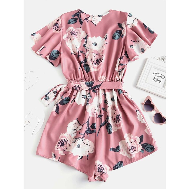 ZAFUL Floral Print Belted Layered Romper Women Jumpsuit Fall Loose Plunging Neck Butterfly Sleeve Mini Playsuits  Overalls 1