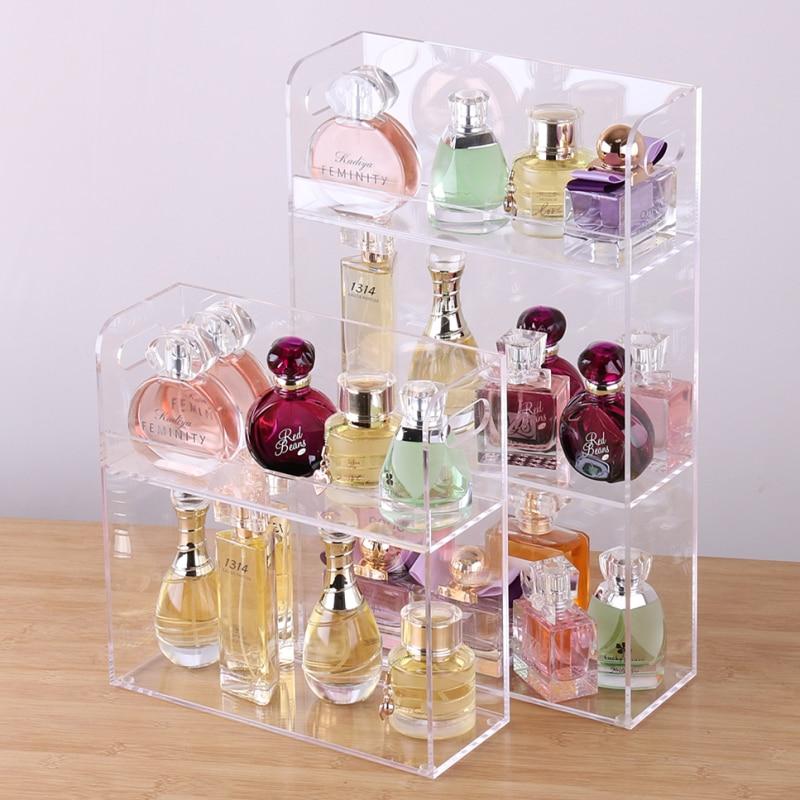 Large Capacity Perfume Display Rack Acrylic Makeup Organizer Clear Desktop Storage Box 2-3 Layer Make Up Organizer Jewelry Shelf