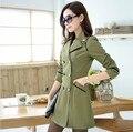 Женщин пальто 2015 Корейских Тонкий двубортный с длинными рукавами траншеи женский ветровка ветровка плюс размер FY15030905