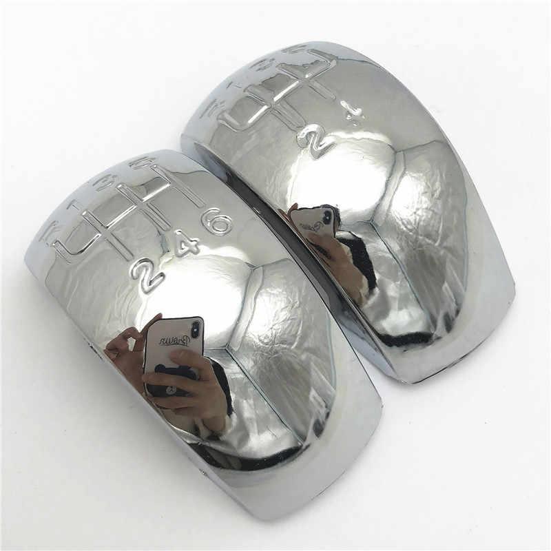 Skoda Octavia için MK2 II (04-08) II FL (08-11) krom siyah araba Styling vites topuzu kapağı amblemi kapağı kolu sopa kalem