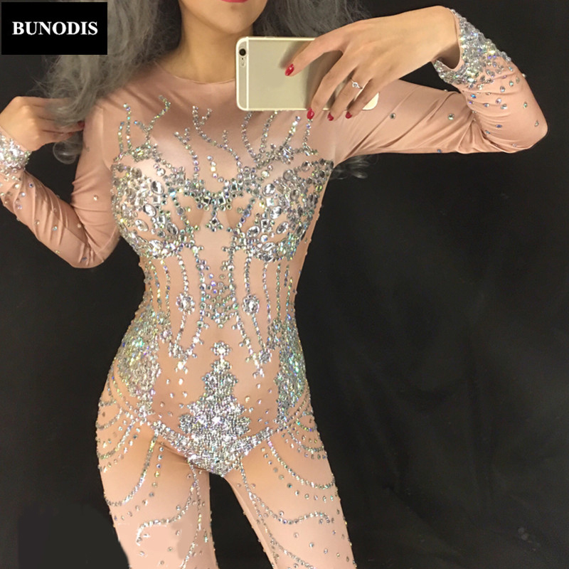 Zentai Romantic Black Crystals Female Costumes Sexy Jumpsuits Stones Outfit Performance Dj Ds Show Zentai Singer Dance Nightclub Party Costume