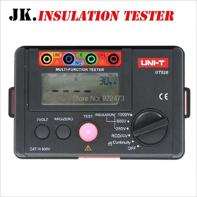 P159 UNI-T UT526 Electrical Insulation Tester Earth Resistance Meter + 1000V+RCD Test+Continuity+Vac/dc (4 in 1) 2017 mastech ms5203 digital megger insulation tester resistance meter tecrep 10g 1000v ac dc voltage continuity electrical test