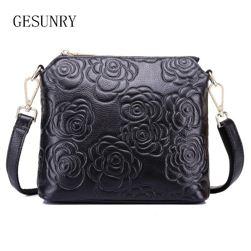 2016 New Genuine Leather Shoulder bag Women messenger bags clutch Cow leather Girls Casual bag Brand
