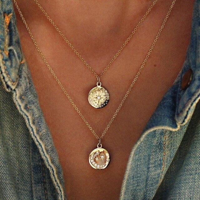 collier bohème sautoir demi lune et étoile et pierre de zirconium 46 cm 1