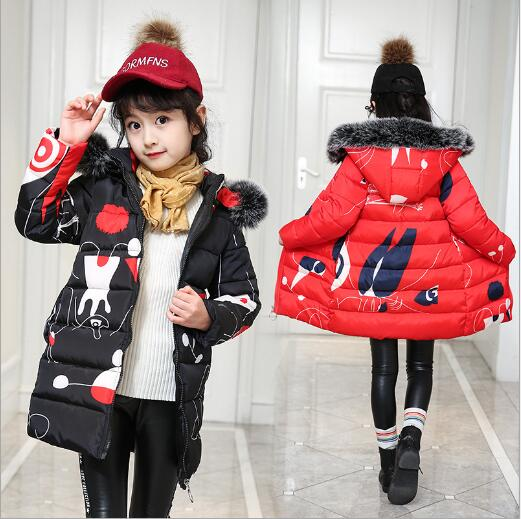 NEW Fashion Winter Parkas Graffiti Print Hooded Girls Thick Warm Fur Collar Long Coat&Jacket College Wind Style kids Outwear womens parkas with fur hoods winter warm long denim jeans velvet hooded long ladies wool coat jacket 2017 plus size blue clothes