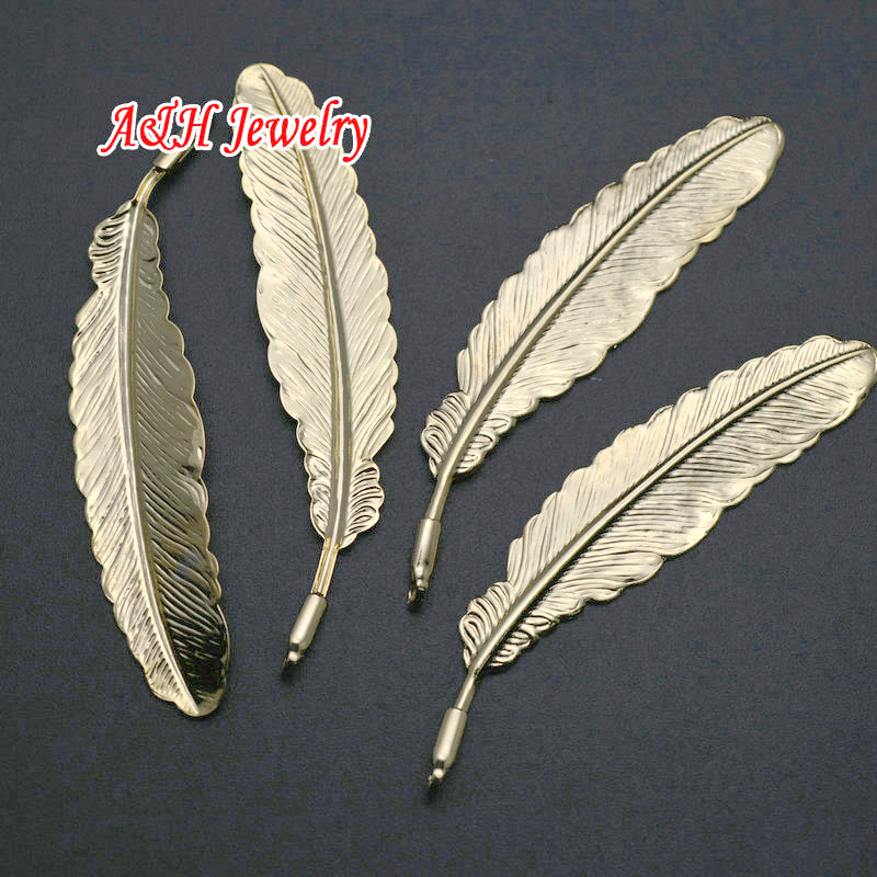 20pcs High Quality Gold Color Copper Feather Shape Pendants Fashion Women Jewelry Making Materials Leaves Charms DIY Findings