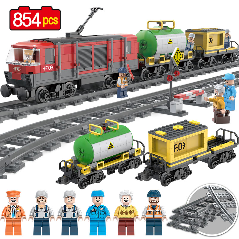 854PCS Railway Goods Train locomotive Model Building Blocks Bricks Compatible Legoingly Intercity Passenger Trains Toys Of Kids