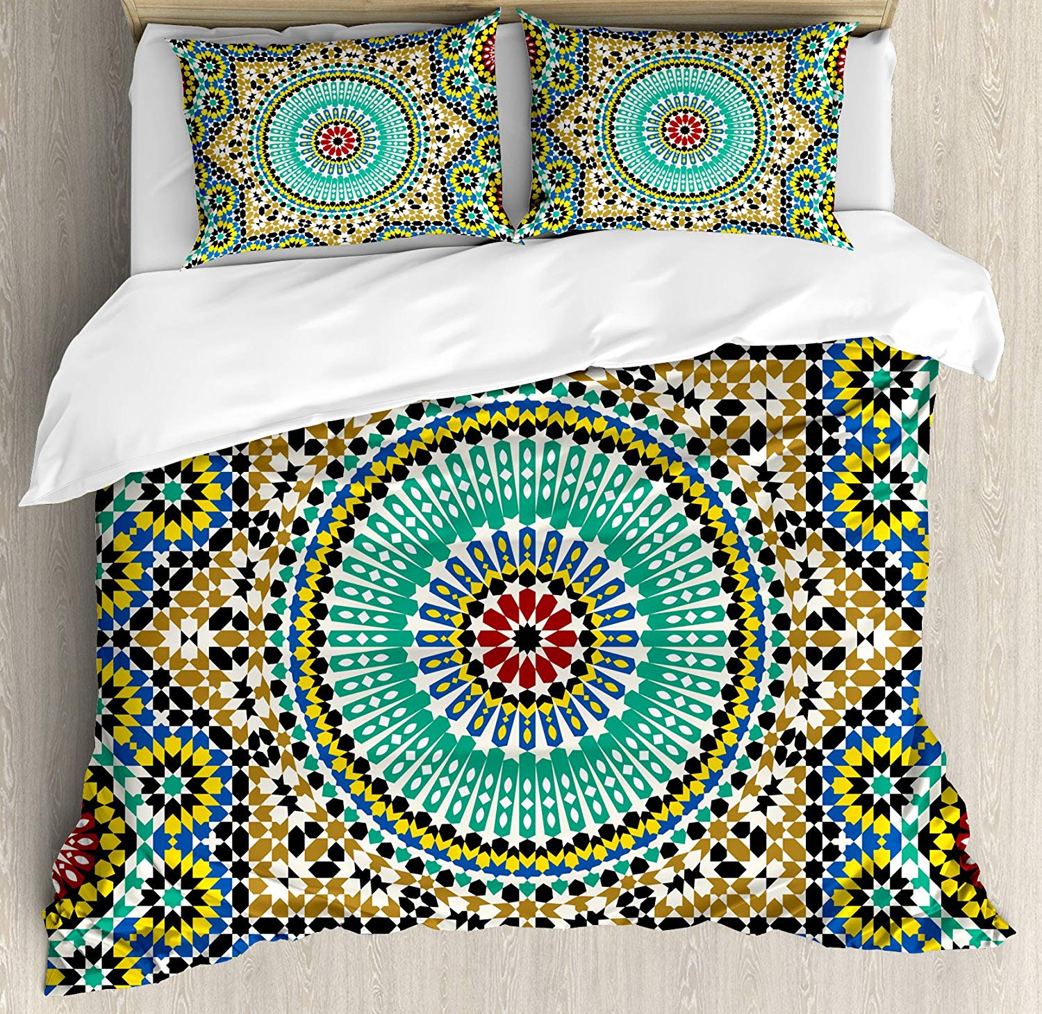 Moroccan Decor Duvet Cover Set Queen Size Architectural Glaze Decorative Wall Tile Ceramic Historical Traveling Destinations