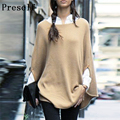 Preself Sweaters Knittiing Celeb Women Cozy Cotton Knitwear Cloak Cape Loose Sweater Outwear Fashion Smart Jumper Tops Poncho