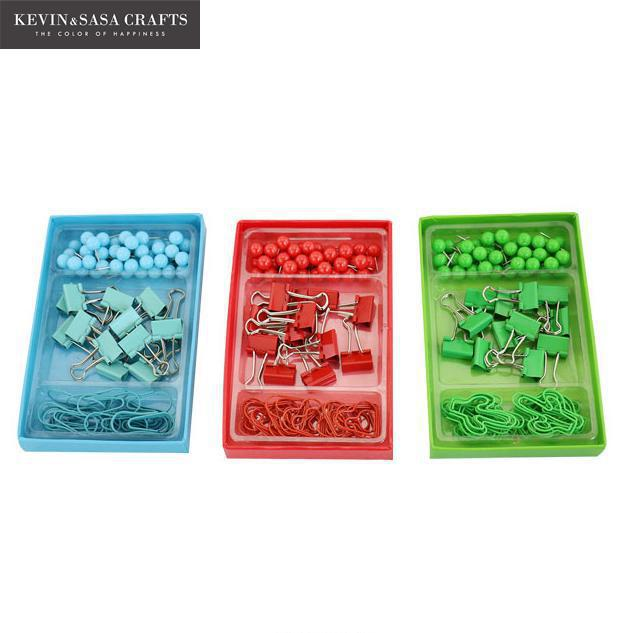 62in1 Metal Binder Clips Set Paper Clips Office Pushpins Learning Supplies Luxury Office Supplies Office Tools Stationery Gift deli new colorful candy paper clips 200pcs a barrels office stationery metal clips box pin binding supplies learn student clips