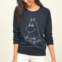 Kawaii MOOMIN Cartoon Printed Sweatshirt Women Fleece Hoodies Funny Casual Female Pullover 2016 Harajuku Hip Hop