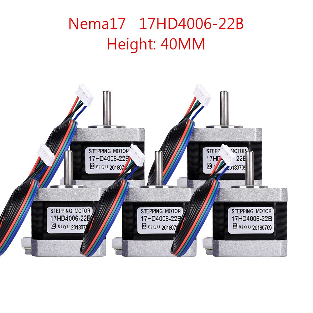 4/5PCS 3D Printer Motor 4-lead Nema17 Stepper Motor 42 Motor Nema 17 Motor 40MM 1.3A (17HD4006-22B) 42BYGH For CNC XYZ Reprap4/5PCS 3D Printer Motor 4-lead Nema17 Stepper Motor 42 Motor Nema 17 Motor 40MM 1.3A (17HD4006-22B) 42BYGH For CNC XYZ Reprap