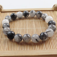 Wholesale 8mm Black Rutilated Quartz Round Beads Stretchy Bracelet 7 5 Inch SHX1665