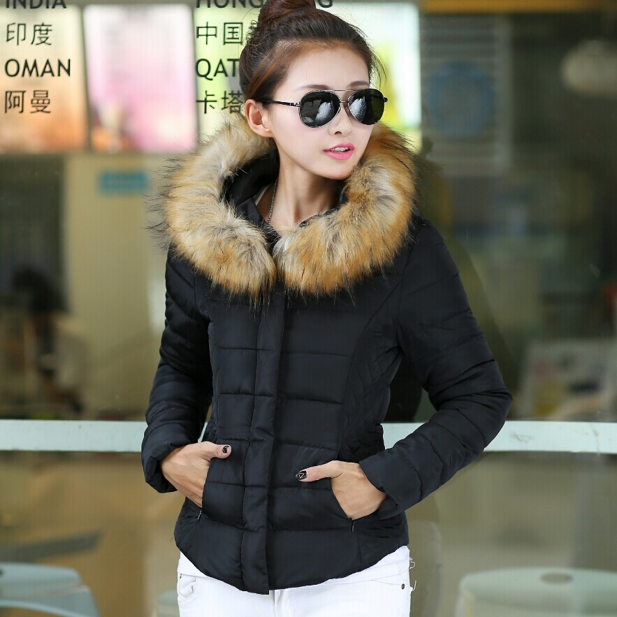 Pop New Nice Winter New Women Fur Collar Short Cotton Padded Jacket Ladies Fashion Thick Wadded Down Coat Plus Size XXXL CP1154