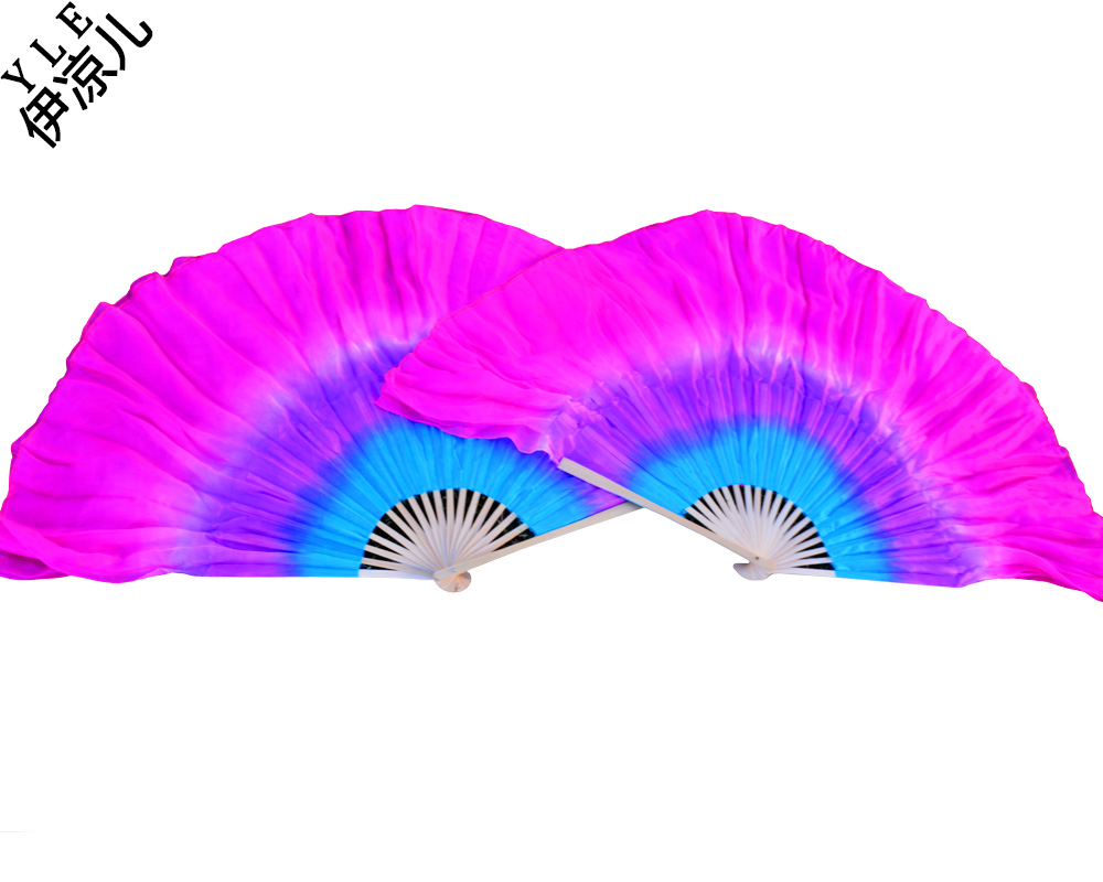 2017 Women Of High Quality Silk Chinese Belly Dance Dance Fan Cheap Hot Yellow And Turquoise+Purple +Rose Double Short Silk Fan