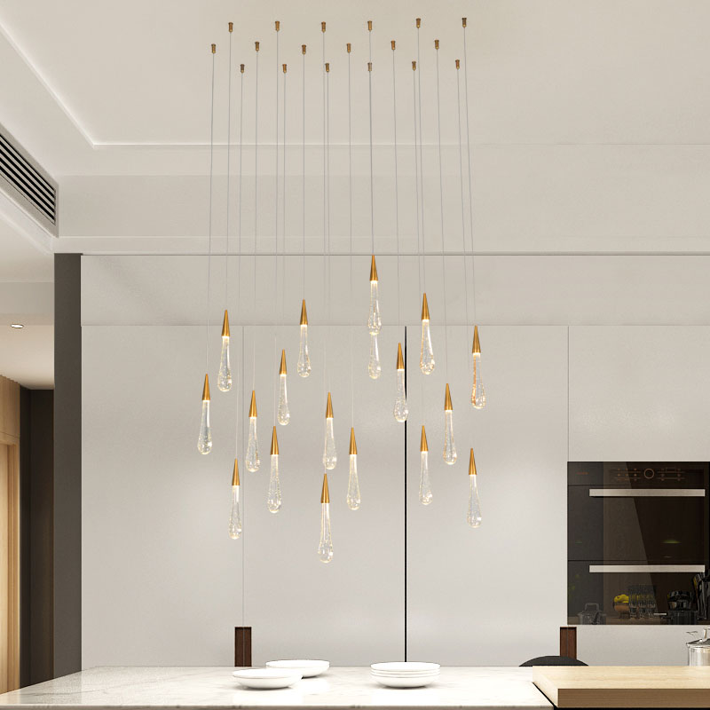 Gold Water Drop Crystal Creative Pendant Light European-style Luxury LED Lamps Moderm Glass Indoor Lighting Restaurant