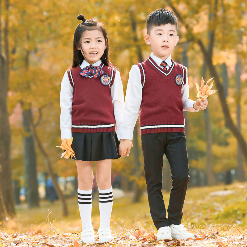 Four-piece Vest Shirt Kindergarten clothes childrens performance sports class suit boys and girls big and small size suit