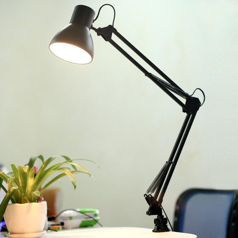 Crubon Adjustable Desk Lamp Flexible Long Swing Arm Table Lamps Eye Care Folding LED Reading Working Light Clip Lamp 110V 220V