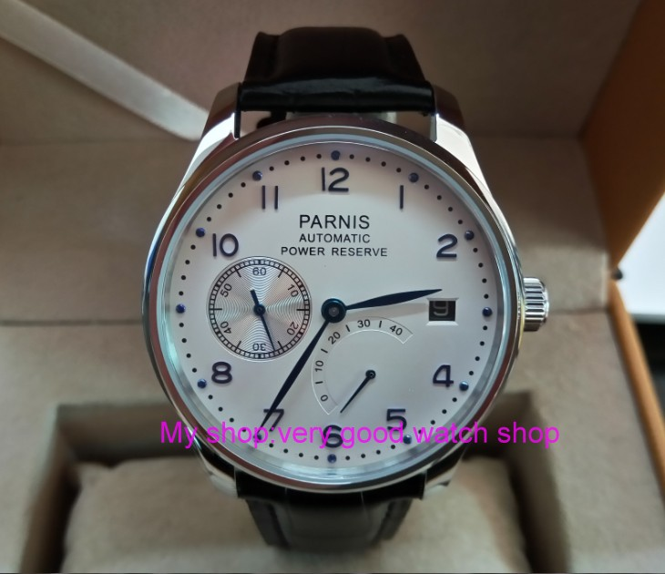 Здесь продается  43mm PARNIS White dial power reserve Automatic Self-Wind Mechanical movement men
