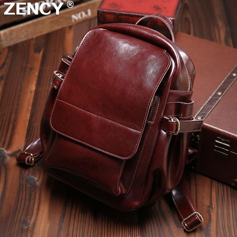 ZENCY Luxury Vintage Genuine Leather Oil Wax Cowhide Real Leather Women Backpacks Female Ladies Backpack School Book Style Bags