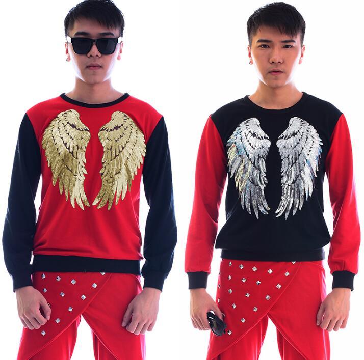 Rot fashion punk dünne sexy pailletten shirt männer hose langarm ursprüngliche teenager shirt herren persönlichkeit bühne sängerin dance