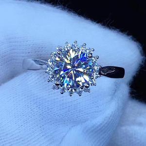 Image 3 - עגול כסף Moissanite טבעת 1ct D VVS יוקרה Moissanite Weding טבעת לנשים