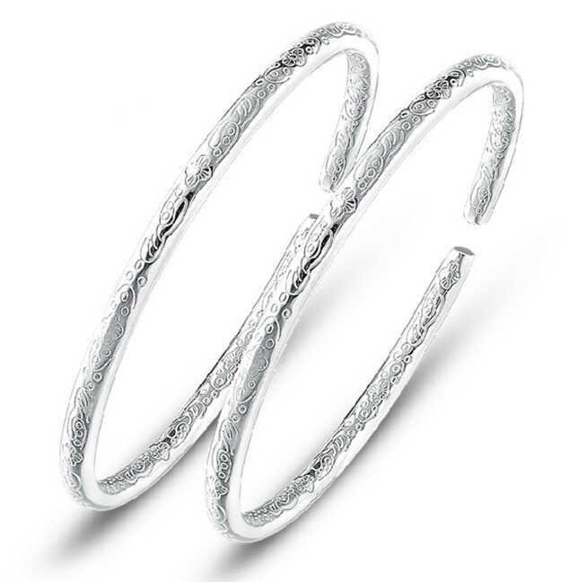 1 PCS Simple Fashion 925 Sterling Silver Bohemian Carving Open Cuff  Bracelets&Bangles Women Jewelry pulseras of S-B26
