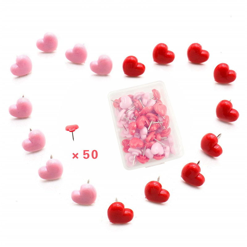50Pcs Mini Pink Red Heart Push Pins Cute Heart-shaped Push Pin Thumbtack For School Office Supplies Kids Decorative Drawing Pins