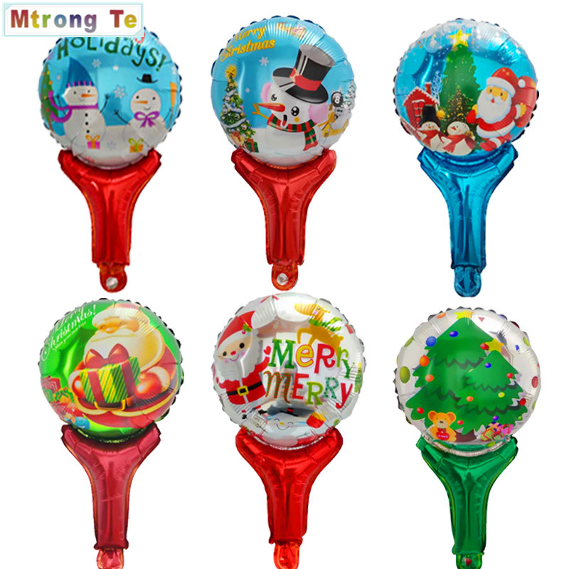 10pcs Merry Christmas Hand Hold Stick Foil Balloons
