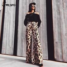 CWLSP 2018 Fashion Leopard Women Wide Leg Pants High Waist Trousers Long  Pantalon Female Autumn Cloth QA2750