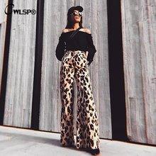 Модные леопардовые женские брюки cwlsp 2018 с широкими штанинами