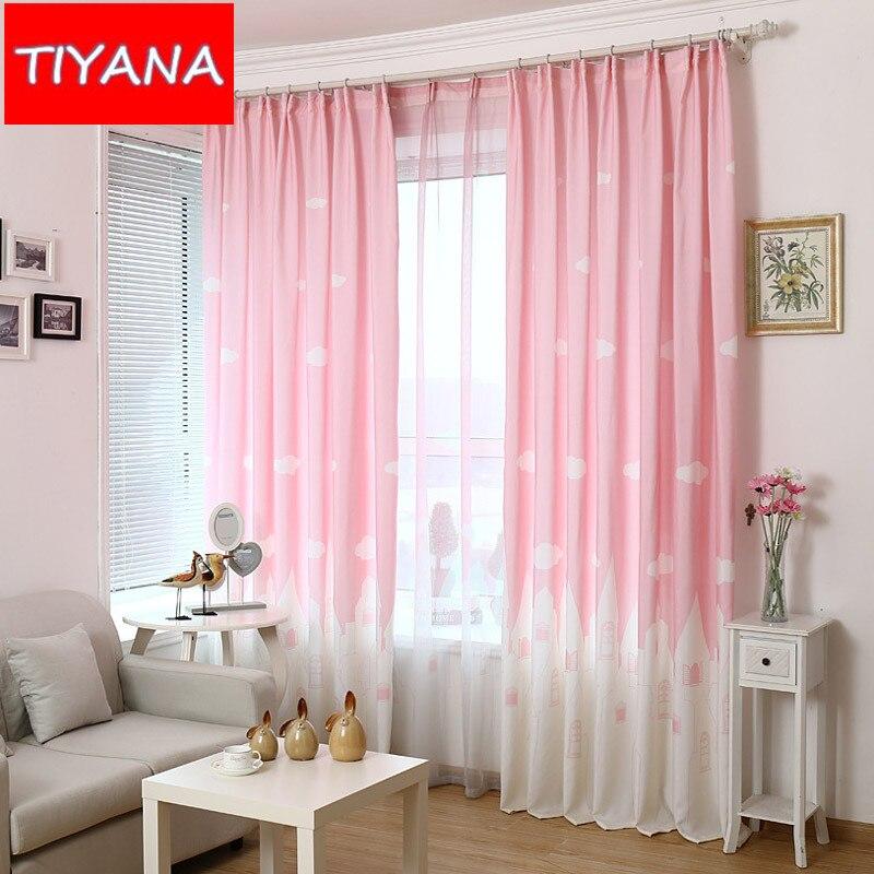 rosa cortinas para el dormitorio infantil nube castillo de dibujos animados muchachos de las muchachas azul