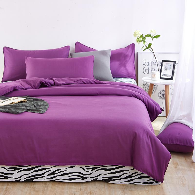 4pieces/set Cotton Bedding set linens Nature Soft housse de couette for kid Purple Duvet cover Pillowcases strip Flat sheet nature explorer box set