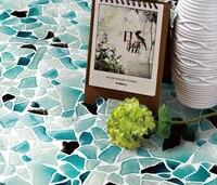Свободный стиль барокко Дизайн Детские синий прозрачное стекло мозаика Ванная комната Душ пол кухня щитка дома настенной плитки, LSWZ01