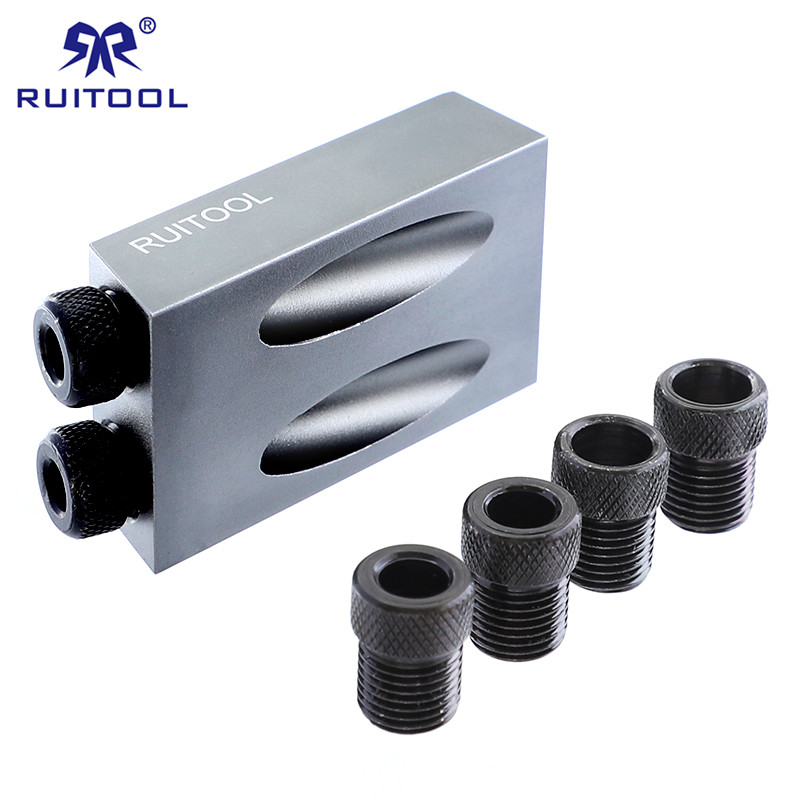 Pocket Hole Jig Mini Aluminum Wood Jig Drill Bit 6 8 10mm DIY Carpentry Projects Drill Guide Woodworking Tool Set woodworking drill guide pocket hole jig 6 8 10mm mini drill bit sleeves for kreg pocket hole doweling joinery diy repair tools
