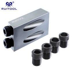Pocket Hole Jig Mini Aluminum Wood Jig Drill Bit 6 8 10mm DIY Carpentry Projects Drill Guide Woodworking Tool Set