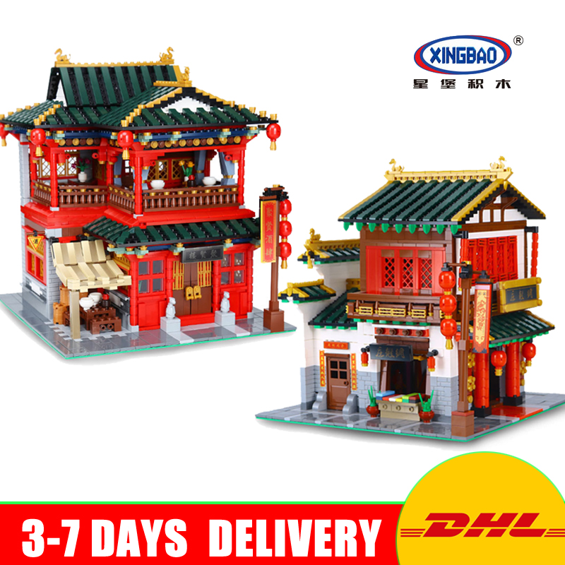 XingBao Creative Chinese Style 01001 + 01002 Model Gift for Children Education Building Blocks Bricks Toys for Children Gifts стоимость
