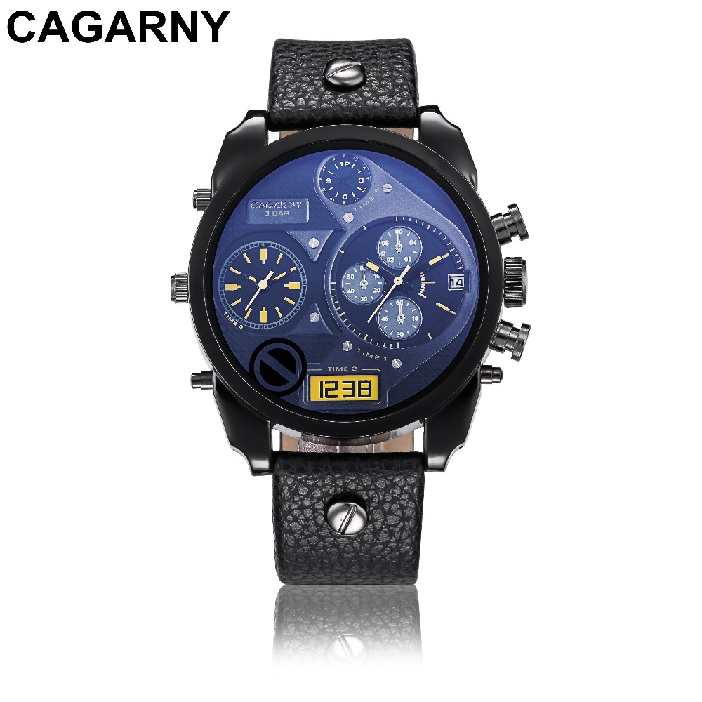 Christmas Gift Modern Large Size Watches Men Date Quartz Watch Sports Wristwatch Military Luxury Leather Strap Big Male Clock men causal military quartz watch silicone stripe strap wristwatch casual sports watches date clock gifts for boy friend ll 17